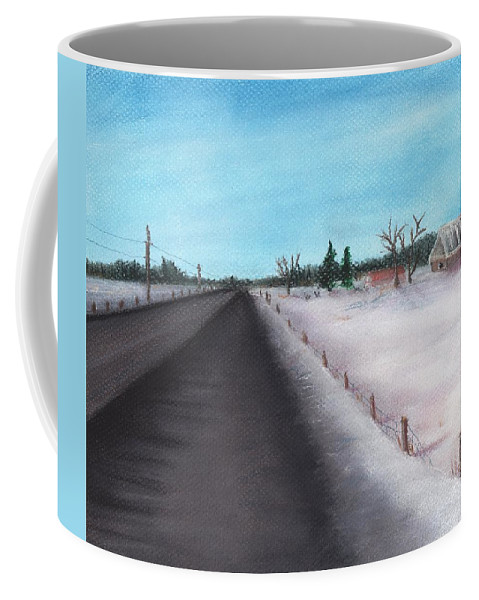 Calm Coffee Mug featuring the painting Country Road by Anastasiya Malakhova
