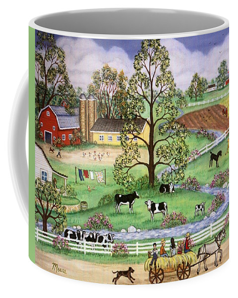 Folk Art Landscape Coffee Mug featuring the painting Country Scene by Linda Mears