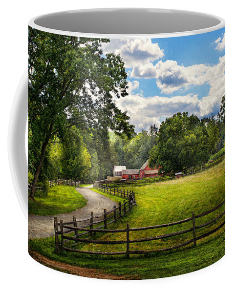 Cow Coffee Mug featuring the photograph Country - The Pasture by Mike Savad
