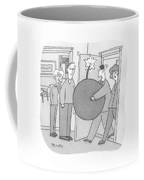 Caption Contest Coffee Mug featuring the drawing Couple Enters House Carrying Giant Lit Bomb by Peter C. Vey