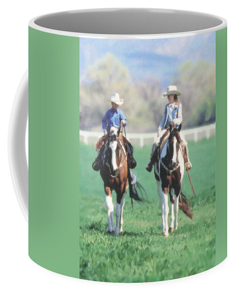 Rodeo Coffee Mug featuring the painting Couple Riding by Dean Wittle