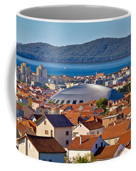 Hall Coffee Mug featuring the photograph Coupola Sports Hall Landmark In Zadar by Brch Photography