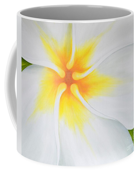 Plumeria Coffee Mug featuring the painting Courtade Gold Plumeria by Mary Deal