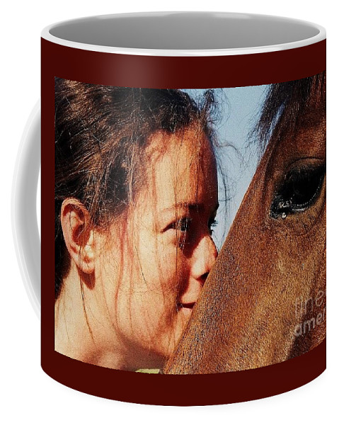 Portrait Art Horse Young Girl Eyes Love Close Up Natural Beauty Published Connection Canvas Print Metal Frame Poster Print Avilable On Greeting Cards Pouches T Shirts Tote Bags Phone Cases And Coffee Mugs Coffee Mug featuring the photograph A Portrait Of Courtney And Annie by Marcus Dagan