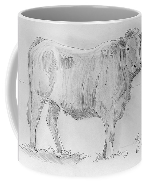Mike Jory Cows Coffee Mug featuring the painting Cow Pencil Drawing by Mike Jory