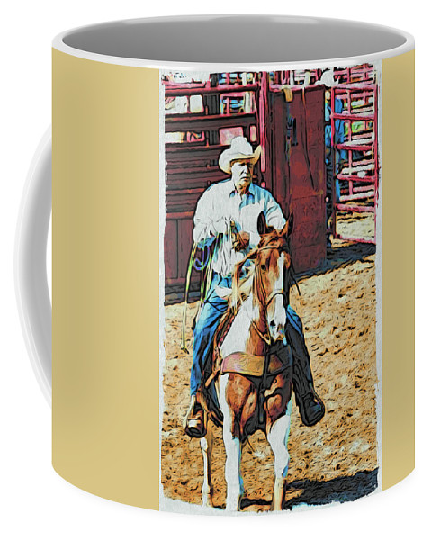 Horse Coffee Mug featuring the photograph Cowboy On Paint by Alice Gipson