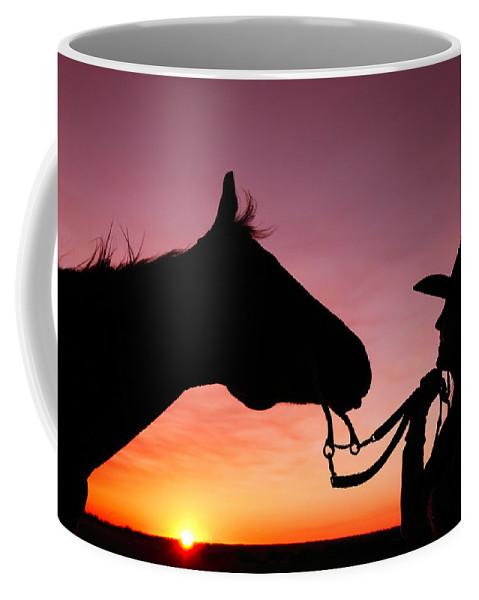 Cowgirl Coffee Mug featuring the photograph Cowgirl Sunset by Todd Klassy
