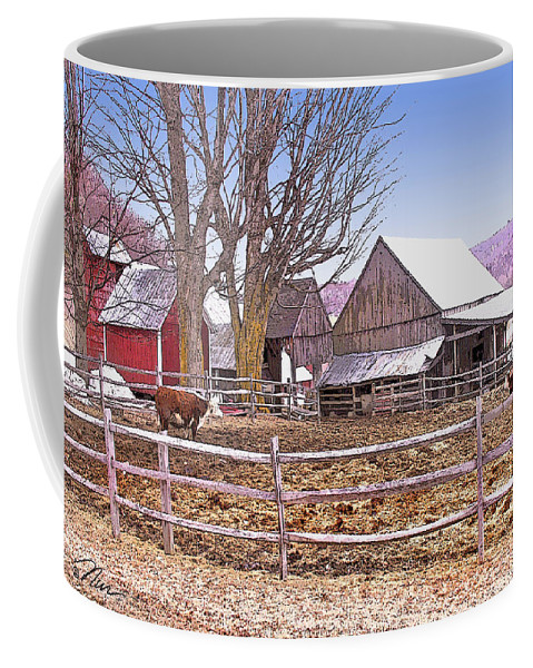 Jenne Farm Coffee Mug featuring the digital art Cows At Jenne Farm by Nancy Griswold