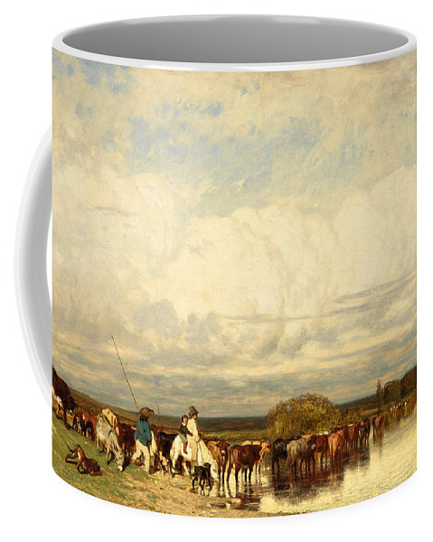 Jules Dupre Coffee Mug featuring the painting Cows Crossing A Ford by Jules Dupre
