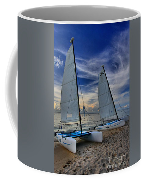 Caribbean Ocean Coffee Mug featuring the photograph Cozumel Hobie Cats by Adam Jewell