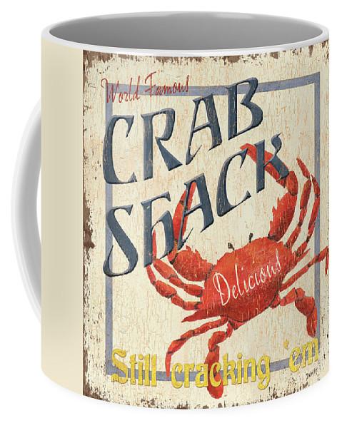 Crab Coffee Mug featuring the painting Crab Shack by Debbie DeWitt