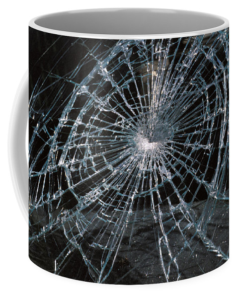 No People; Horizontal; Outdoors; Day; Full Frame; Car; Pattern; Security; Cracked; Glass; Windshield; Danger; Car Accident Coffee Mug featuring the photograph Cracked Glass Of Car Windshield by Anonymous