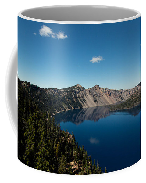 Crater Lake Coffee Mug featuring the photograph Crater Lake And Boat by John Daly