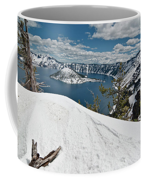 Crater Lake Coffee Mug featuring the photograph Crater Lake And Wizard Island In June by Greg Nyquist
