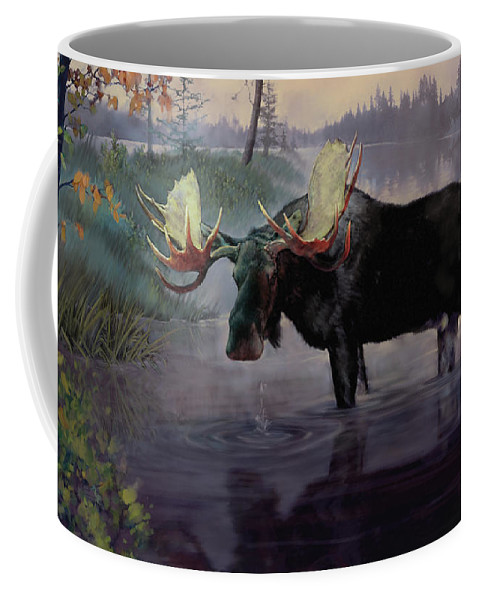 Moose Paintings Coffee Mug featuring the painting Craven Moose by Rob Corsetti