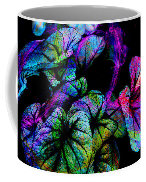 Leaves Coffee Mug featuring the digital art Crazy Elephant Ears by Lisa Yount