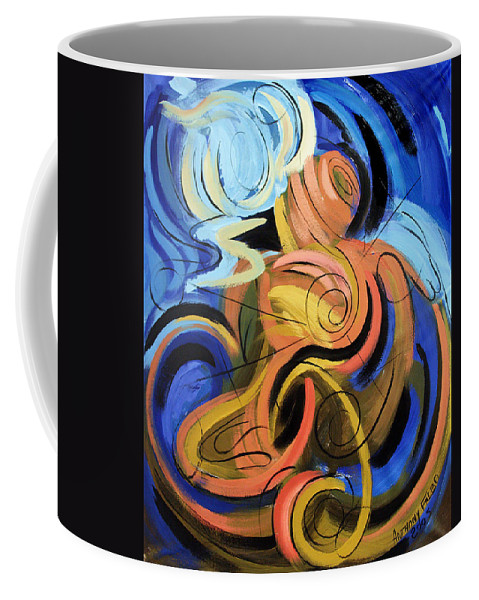 Abstract Coffee Mug featuring the painting Creation Of Man by Anthony Falbo