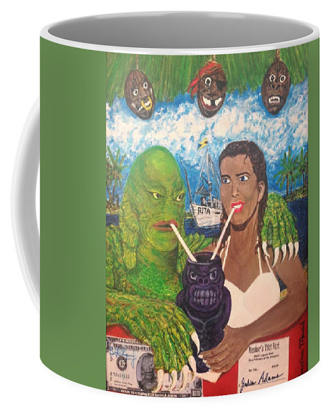 Creature Black Lagoon Ben Chapman Julie Adams Universal Monsters 1954 60th Anniversary Gilmanniversary Creature Features Burbank Jack Arnold Hollywood Jonathan Morrill Tiki Crafted H.p. Lovecraft San Pedro Piedras Blancas Long Beach Warehouse Aquarium Of The Pacific Night Dive 2014 Coffee Mug featuring the painting Creature Comforts by Jonathan Morrill