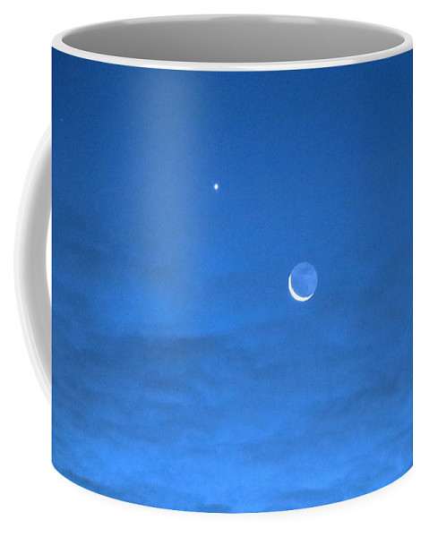 Moon Coffee Mug featuring the photograph Crescent Moon Morning by Andrea Kappler