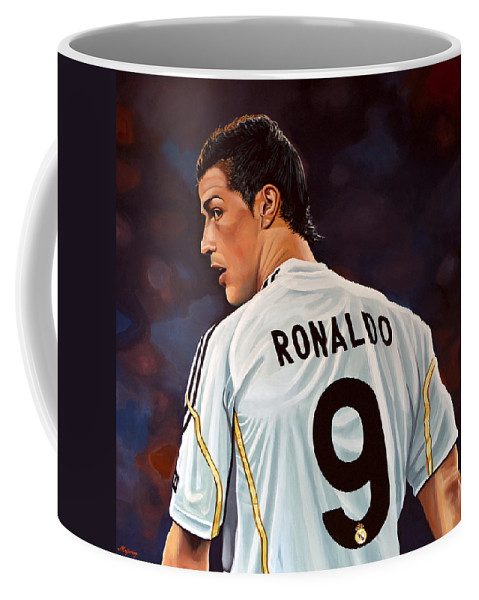 Real Madrid Coffee Mug featuring the painting Cristiano Ronaldo by Paul Meijering
