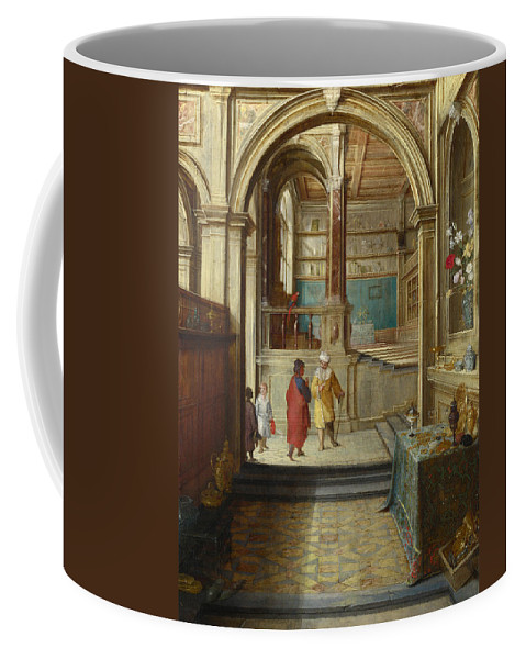 Hendrick Van Steenwijck The Younger Coffee Mug featuring the painting Croesus And Solon by Hendrick van Steenwijck the Younger