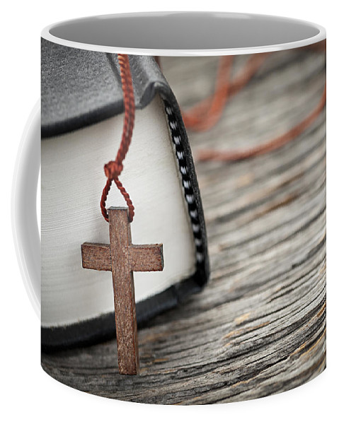Cross Coffee Mug featuring the photograph Cross And Bible by Elena Elisseeva