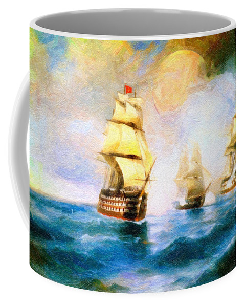 Cross Fire At The Sea Coffee Mug featuring the painting Cross Fire At The Sea by MotionAge Designs