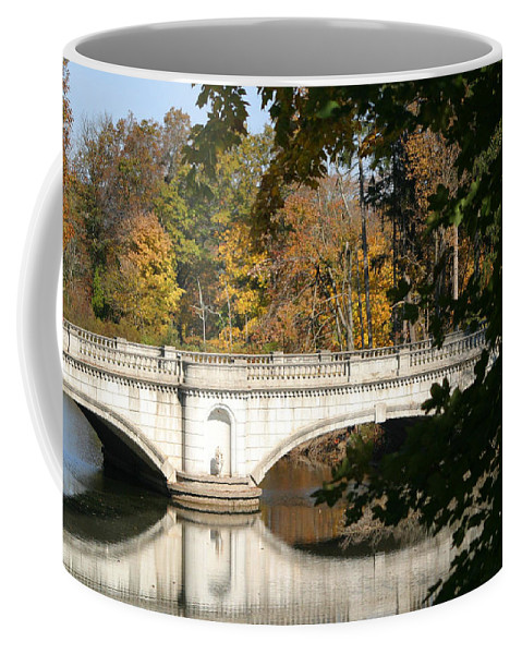 Bridge Coffee Mug featuring the photograph Crossing Over Into Autumn by Living Color Photography Lorraine Lynch