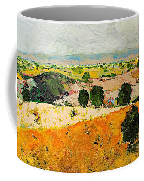 Landscape Coffee Mug featuring the painting Crossing Paradise by Allan P Friedlander