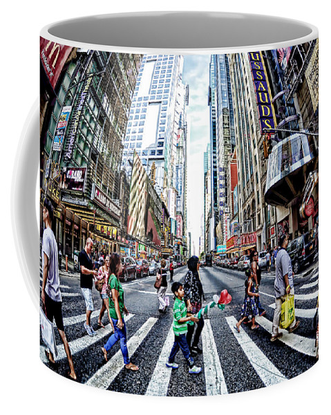 City Coffee Mug featuring the photograph Crossing The City Street by Tina Baxter