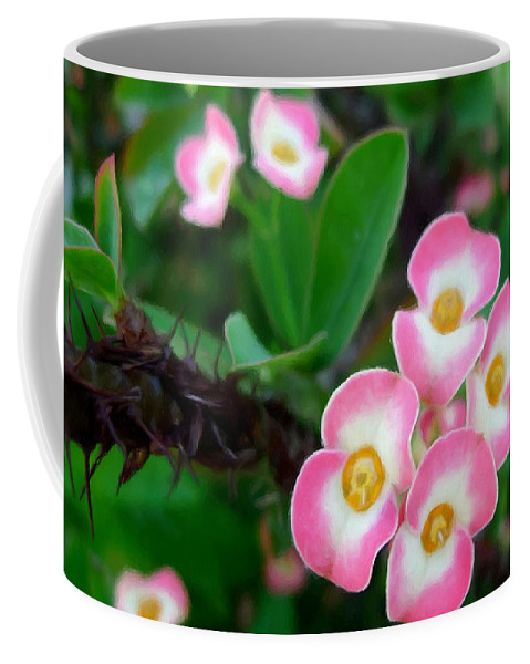 Crown Of Thorns Flower Coffee Mug featuring the painting Crown Of Thorns Flower by Jeelan Clark