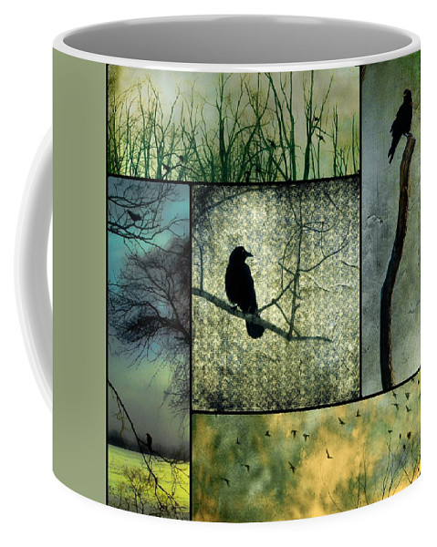 Blue Coffee Mug featuring the photograph Crows In Nature Collage by Gothicrow Images