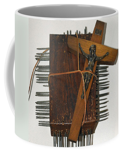 Abstract Modern Outsider Raw Cross Crucifix Jesus Wood Box Construction Brown Leather Nail Nails Coffee Mug featuring the relief Crucifix Box by Nancy Mauerman