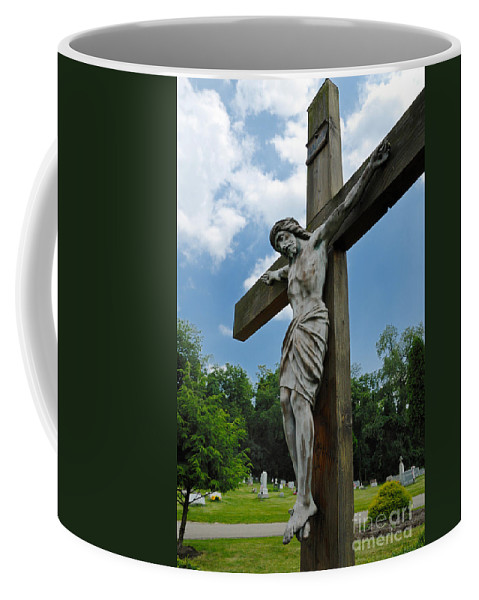 Alleghenycounty Coffee Mug featuring the photograph Crucifix Statue St James Cemetery Sewickley Heights Pennsylvania by Amy Cicconi