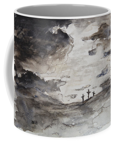 Crucifixtion Coffee Mug featuring the painting Crucifixtion by Rachel Christine Nowicki