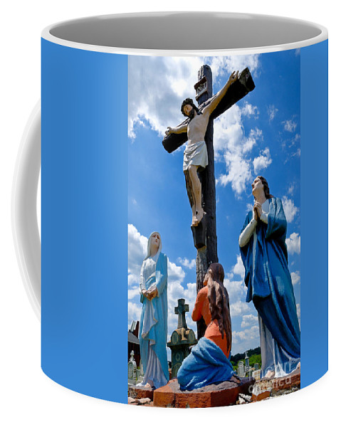Atalphonsus Coffee Mug featuring the photograph Cruficix Statue At St Alphonsus Church Wexford by Amy Cicconi