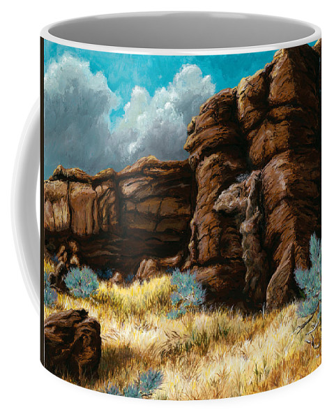 Landscape Coffee Mug featuring the painting Crumbling Cliffs At Harney Or by Carlene Salazar
