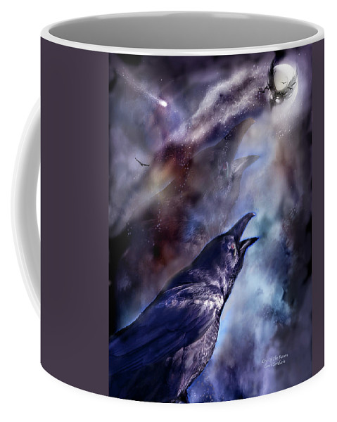 Raven Coffee Mug featuring the mixed media Cry Of The Raven by Carol Cavalaris