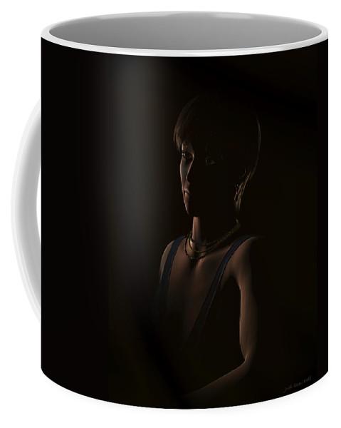 Beautiful Woman Coffee Mug featuring the digital art Crystal In The Dark Portrait by Judi Suni Hall
