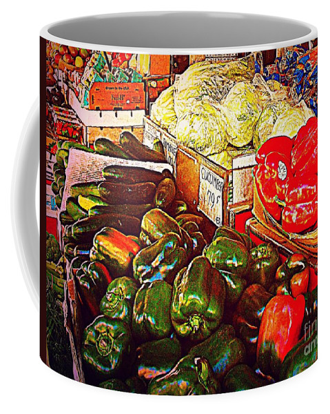 Fruitstand Coffee Mug featuring the photograph Cucumber 79 Cents by Miriam Danar