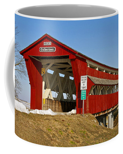 Ohio Coffee Mug featuring the photograph Culbertson Or Treacle Creek Covered Bridge by Jack R Perry