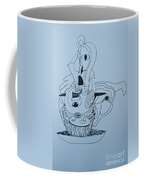 Doodle Coffee Mug featuring the painting Cup Cake - Doodle by James Lavott