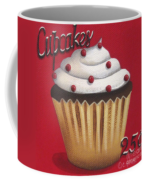 Art Coffee Mug featuring the painting Cupcakes 25 Cents by Catherine Holman