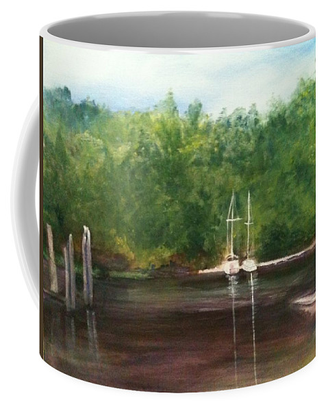 Plein Aire Coffee Mug featuring the painting Curtain's Marina by Sheila Mashaw