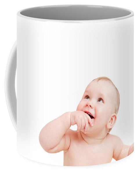Baby Coffee Mug featuring the photograph Cute Happy Baby Smiling Looking Above On White by Michal Bednarek