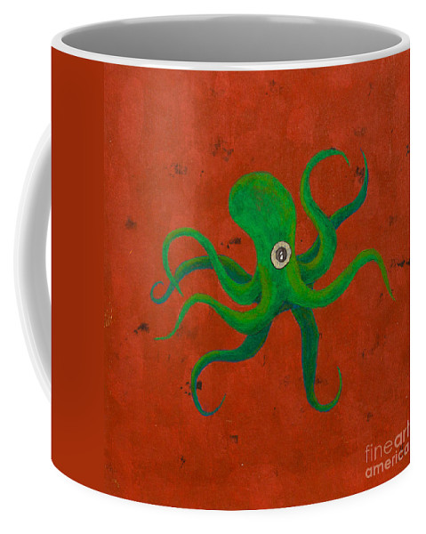 Coffee Mug featuring the painting Cycloptopus Red by Stefanie Forck