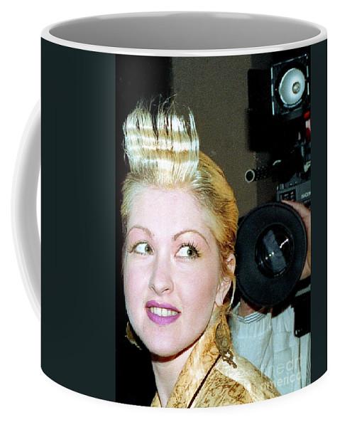 Musician Coffee Mug featuring the photograph Cyndi Lauper 1988 by Ed Weidman