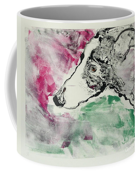 Greyhound Coffee Mug featuring the painting Cyrus by Cori Solomon