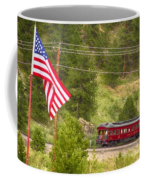 Cyrus K. Holliday Private Rail Car Coffee Mug featuring the photograph Cyrus K. Holliday Rail Car And Usa Flag by James BO Insogna