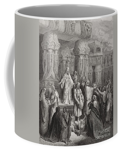 King Of The Persians Coffee Mug featuring the painting Cyrus Restoring The Vessels Of The Temple by Gustave Dore